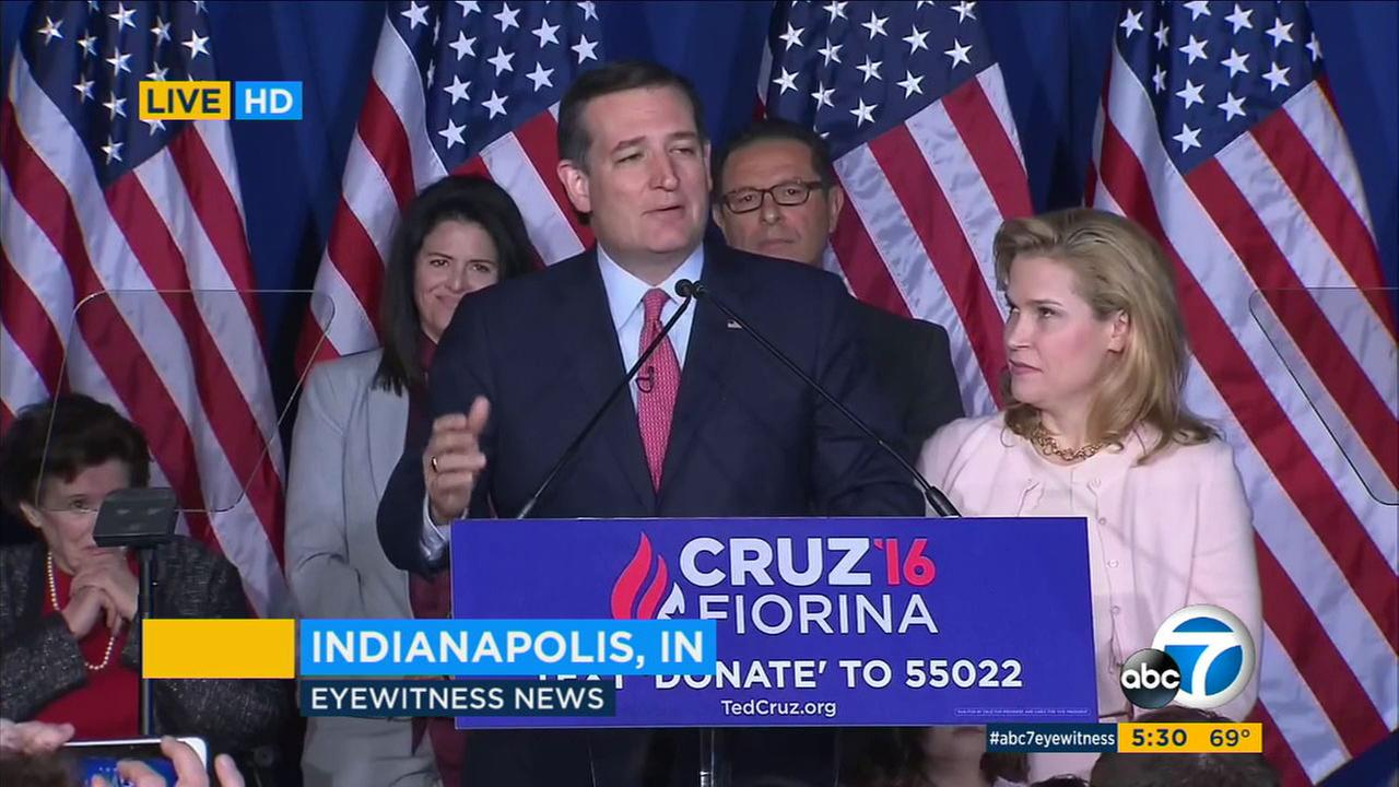 Sen. Ted Cruz, speaking in Indianapolis, Ind. on May 3, 2016, has suspended his bid for the GOP presidential nomination.