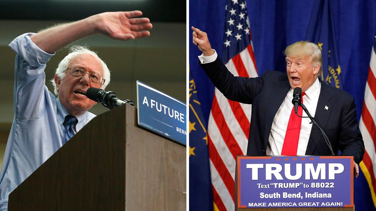 Democratic presidential candidate Bernie Sanders (left) and Republican presidential candidate Donald Trump (right).