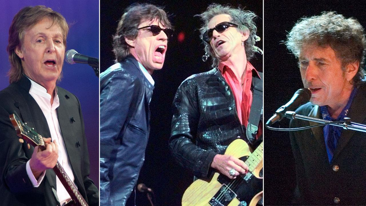 Paul McCartney, Mick Jagger, Keith Richards and Bob Dylan are shown in various concert photos.