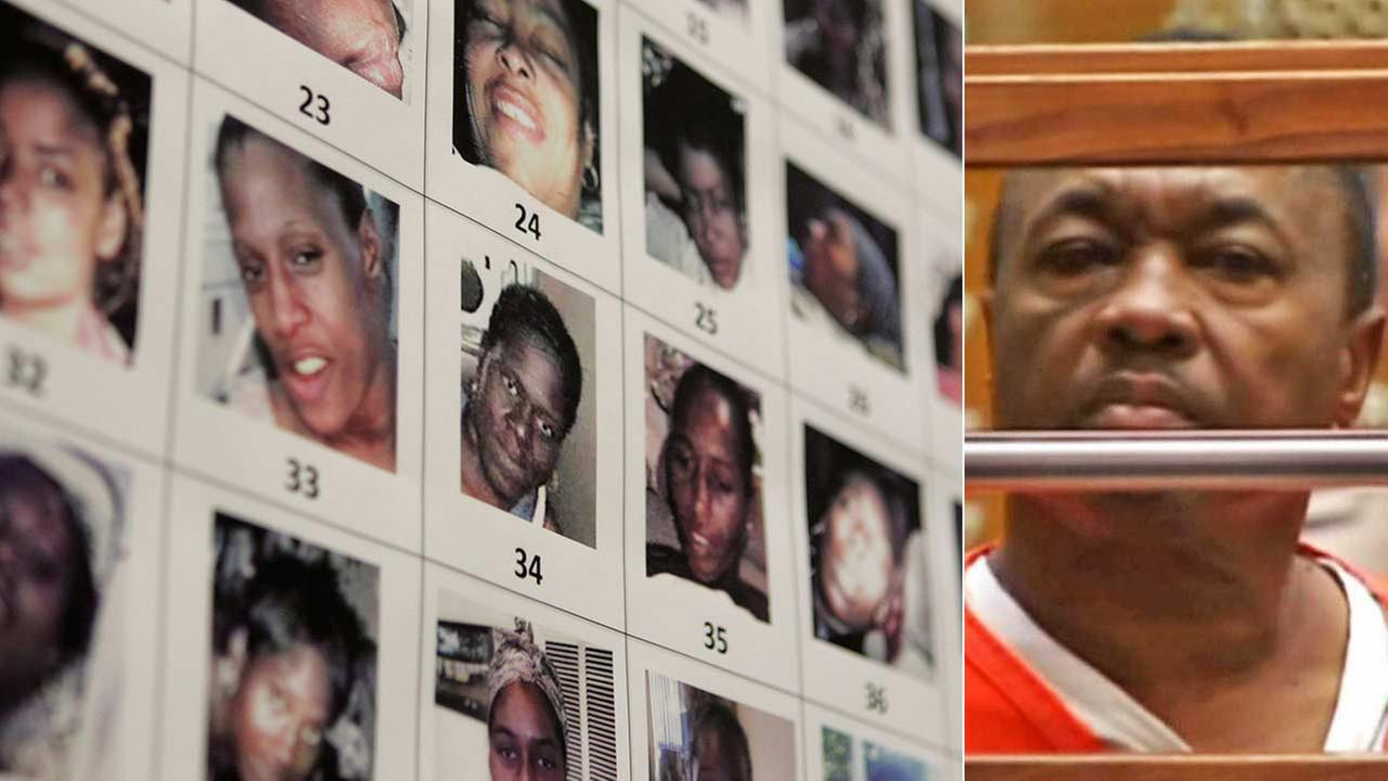 Lonnie Franklin, known as the Grim Sleeper serial killer, is seen in court. Photos of victims of the supposed killer is seen on the left.