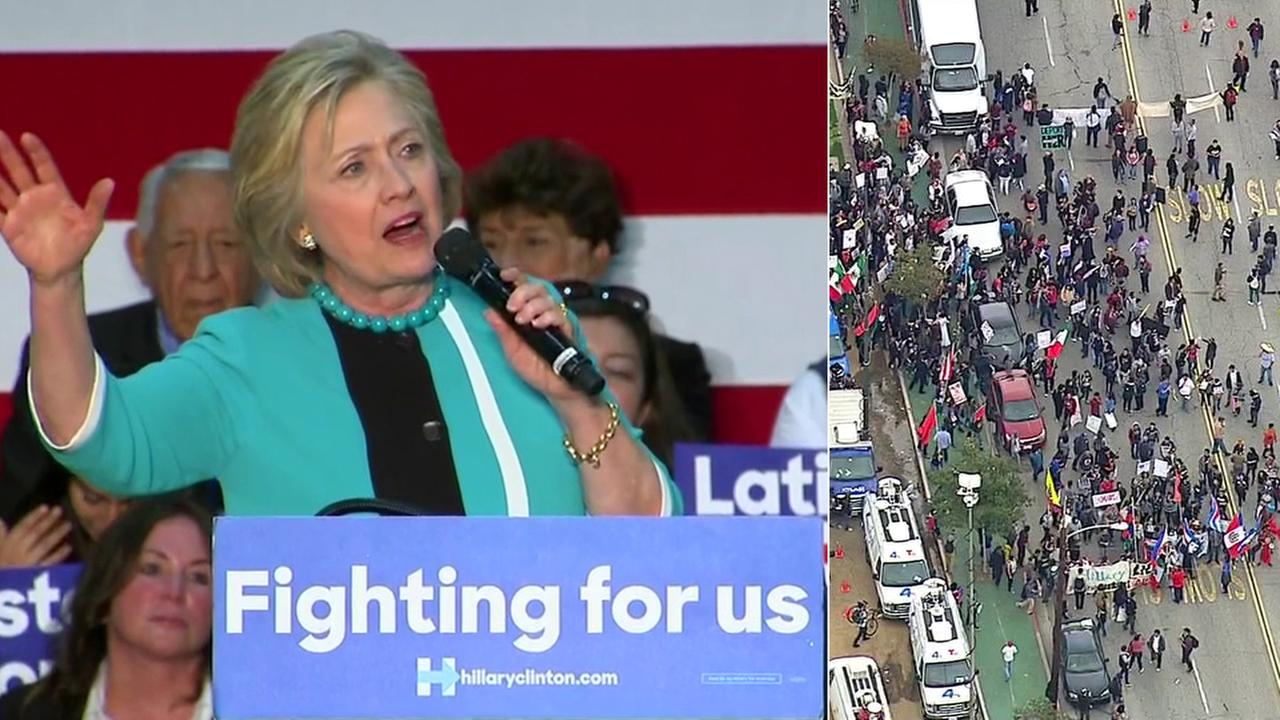 Hillary Clinton speaks at East Los Angeles College Thursday, May 5, 2016 as several protests are held outside.
