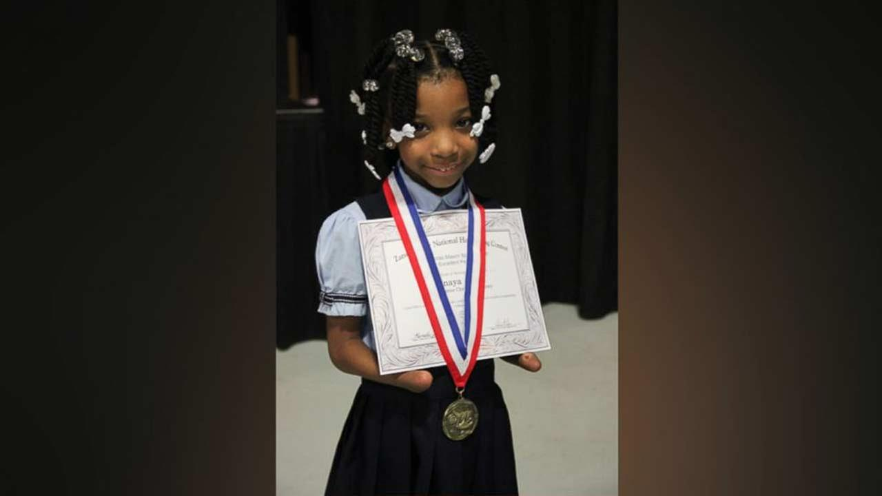 Virginia first-grader Anaya Ellick, 7, won the 2016 the Nicholas Maxim Special Award for Excellence in Manuscript Penmanship.
