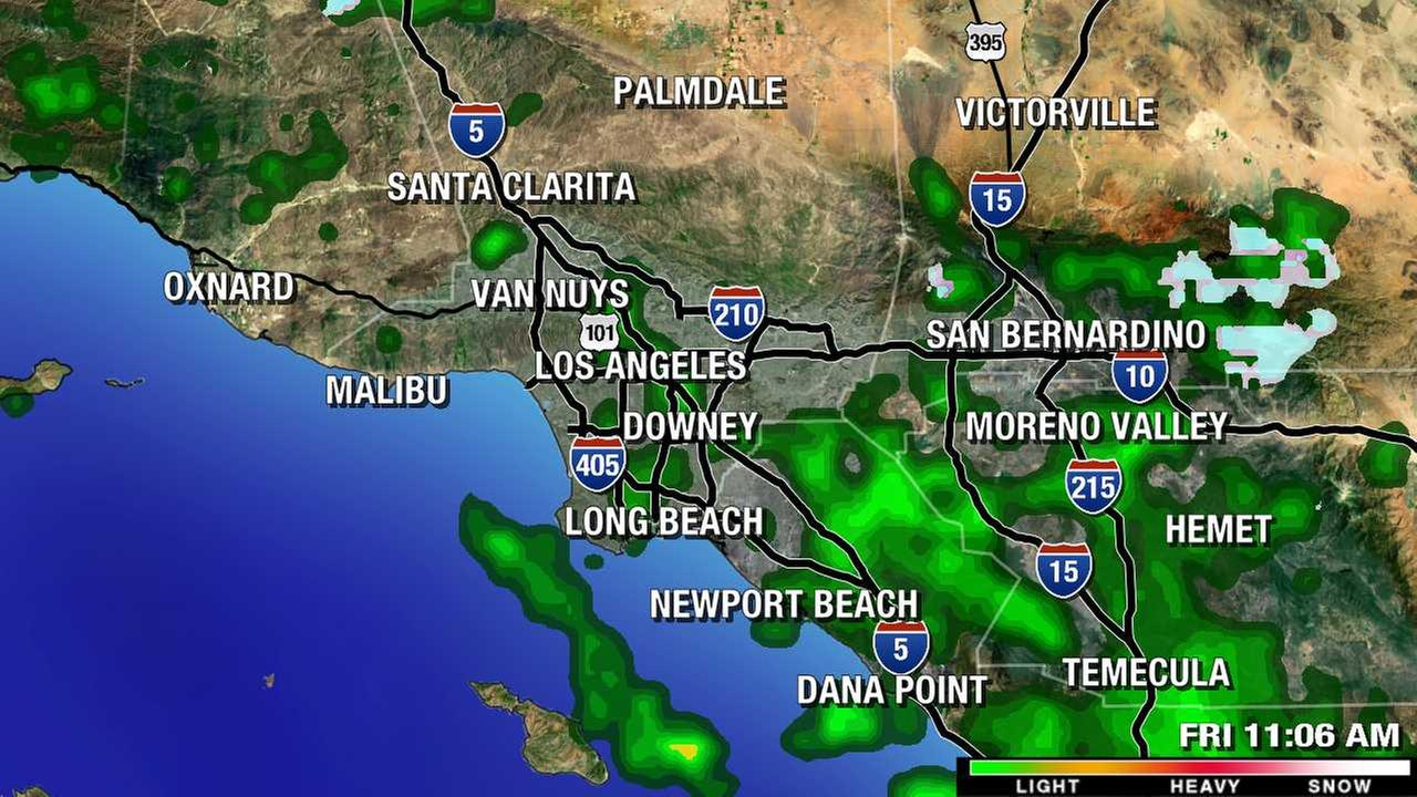 Rain cells sweep across the Southland in an overview image on the ABC7 Megadoppler radar on Friday, May 6, 2016.