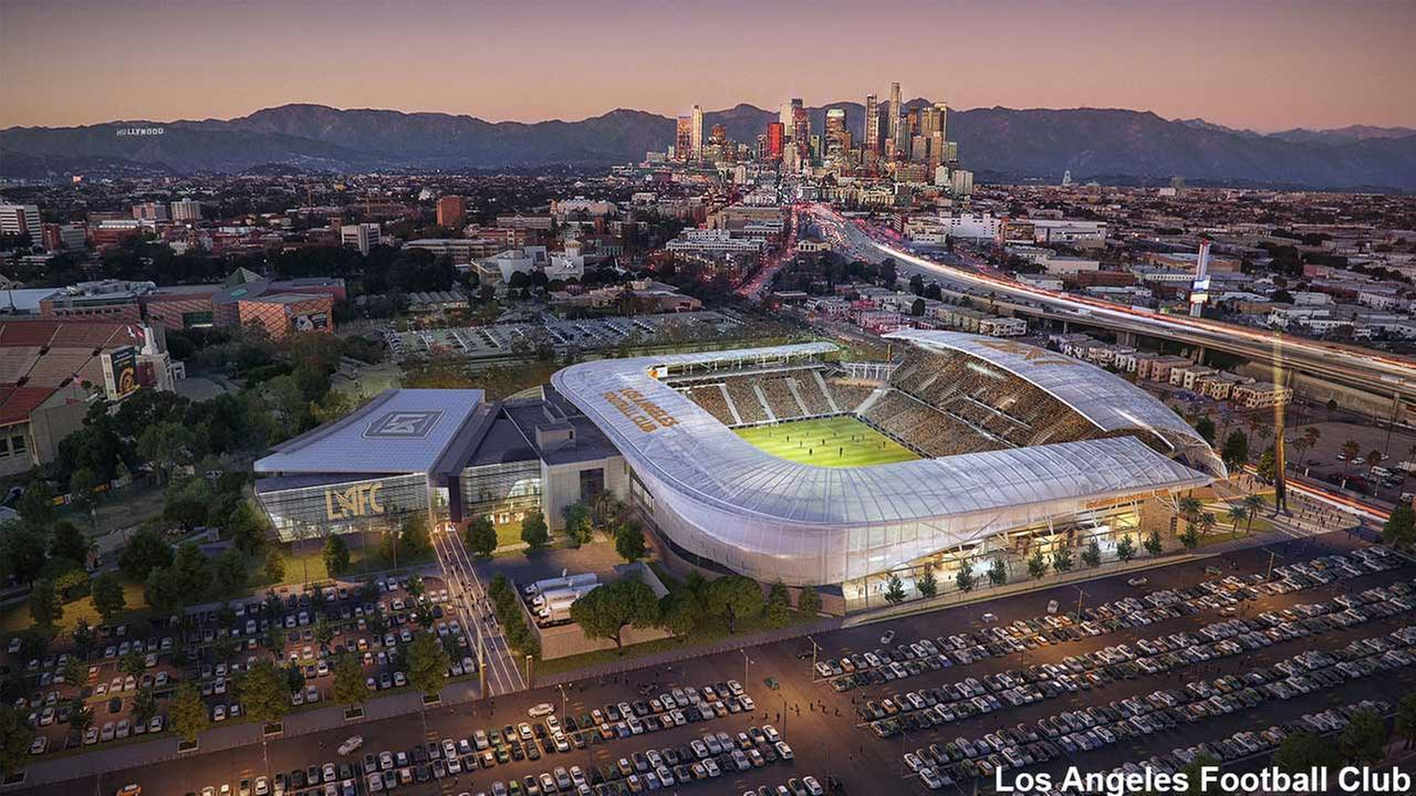 This rendering from the Los Angeles Football Club shows a prospective soccer stadium in Los Angeles.