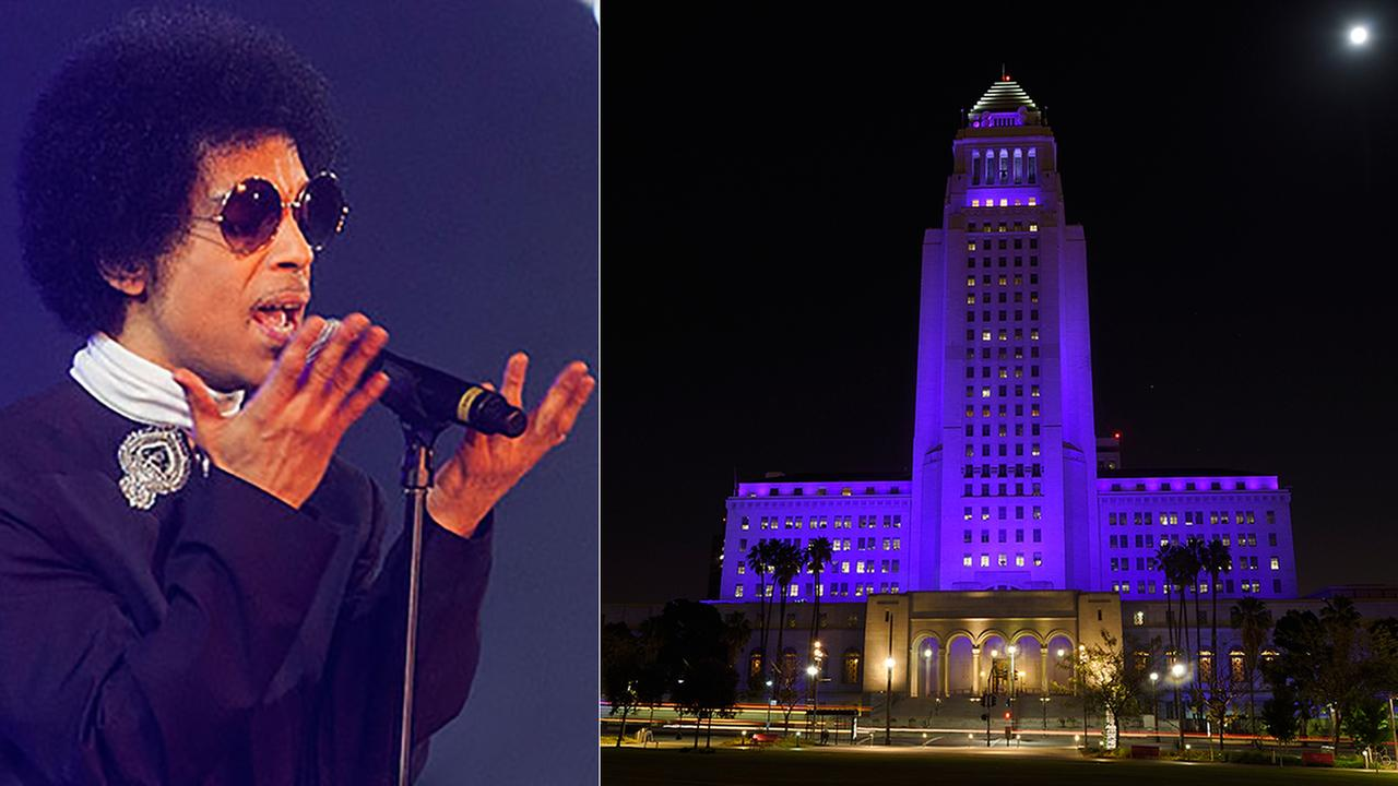 Los Angeles City Hall (right) is lit up in purple as a tribute to the late pop musician Prince (left), Saturday, April 23, 2016, in downtown Los Angeles.