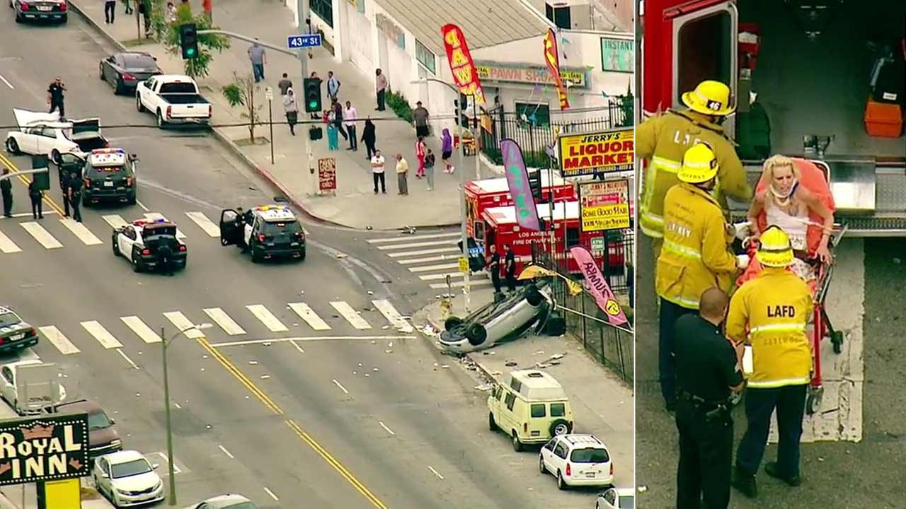 A suspect in a police chase is seen on a gurney after she crashed a vehicle in South Los Angeles on Monday, May 9, 2016.
