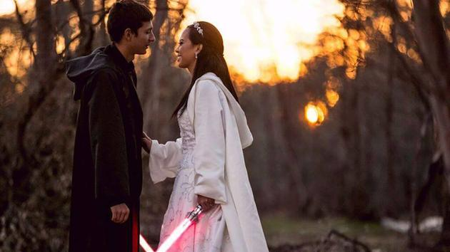 Krystel and Earle Doudera tie the knot in a 'Star Wars' themed wedding in Temecula, California.