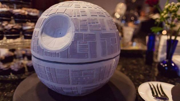 Krystel and Earle Doudera's Death Star inspired wedding cake at their 'Star Wars' themed wedding in Temecula, California.