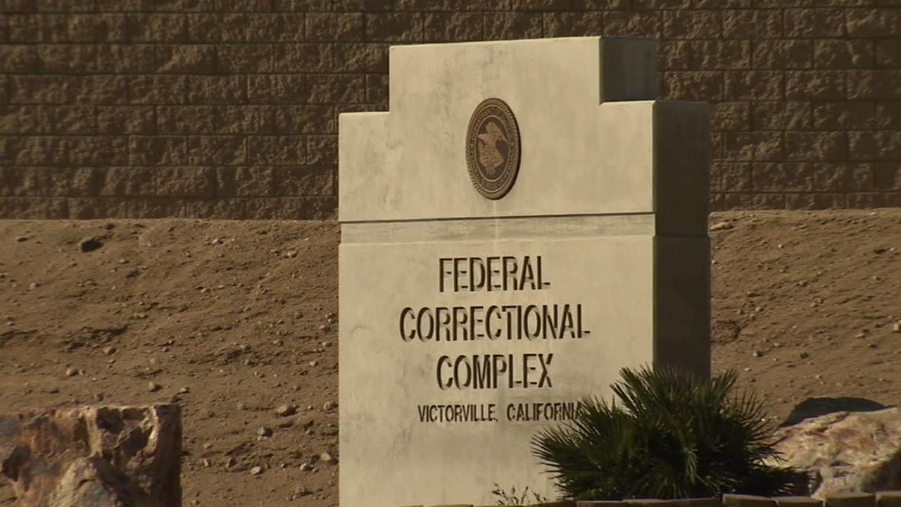 A sign for the Federal Correctional Complex in Victorville, California is shown in this undated file photo.