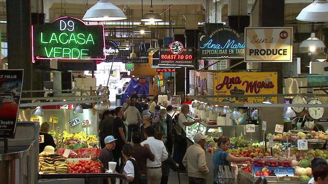 Visitors swarm Grand Central Market in downtown Los Angeles in an undated photo.