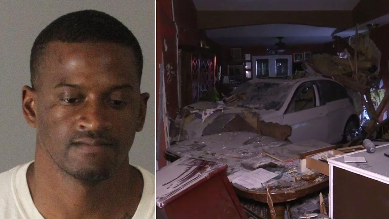 Daniel Omar Henderson, 31, is shown in a booking photo alongside a damaged home he is suspected of driving into in Moreno Valley.