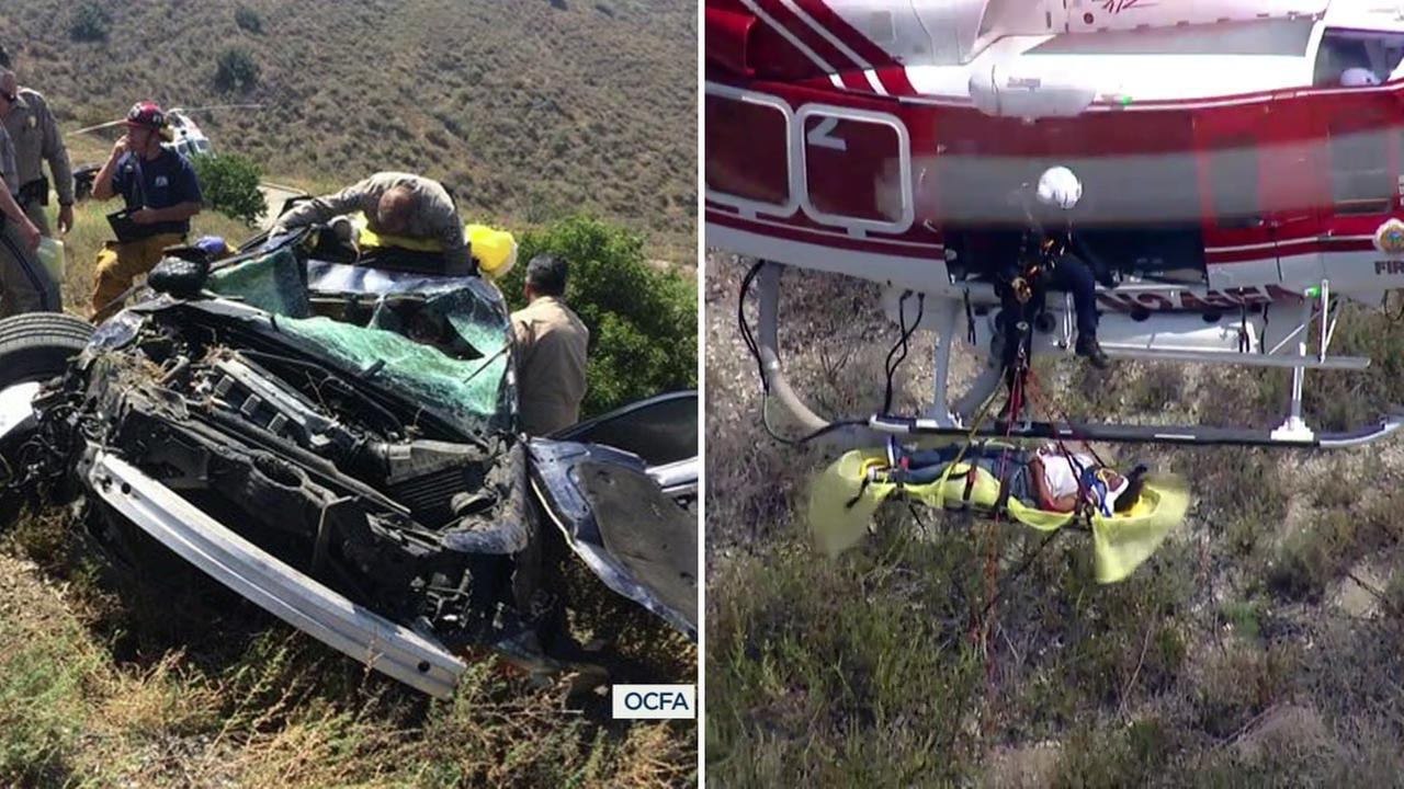 A woman trapped for 14 hours following a crash in Orange County was rescued on Thursday, May 12, 2016.
