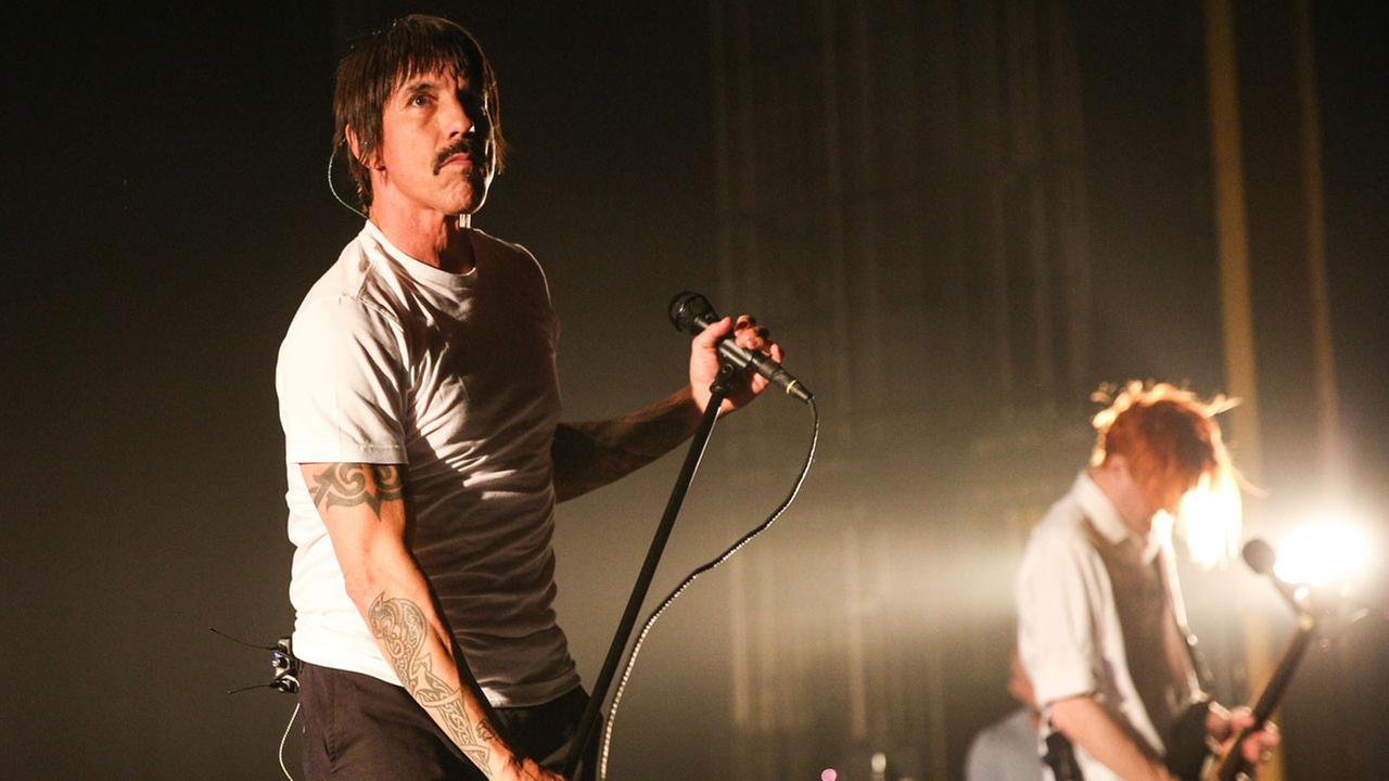 Anthony Kiedis, left, and Josh Klinghoffer of the Red Hot Chili Peppers perform at The Theatre at Ace Hotel on Friday, Feb. 5, 2016, in Los Angeles.
