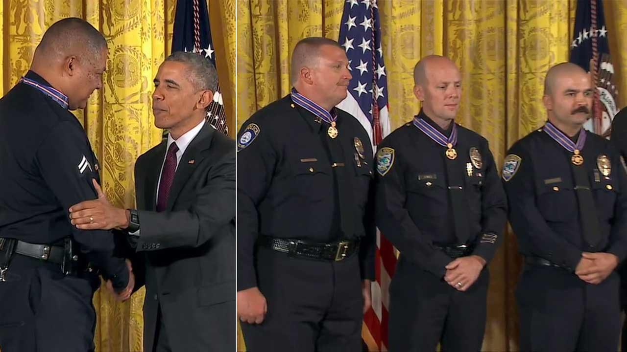 LAPD Officer Donald Thompson, right, and Santa Monica Police Department officers Jason Salas and Robert Sparks SMC PD Capt. Raymond Bottenfield receive the Medal of Valor.
