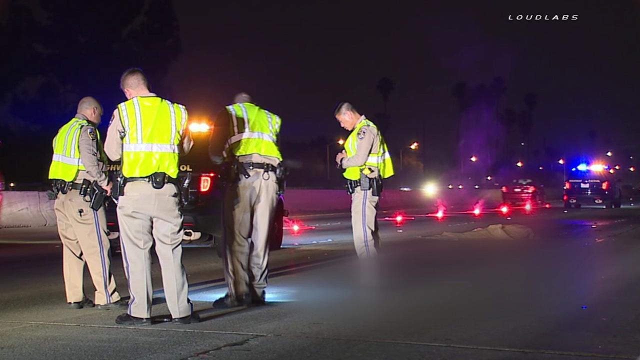 California Highway Patrol officials investigate a fatal hit-and-run on the eastbound 10 Freeway near Sunset Avenue in West Covina Wednesday, May 18, 2016.