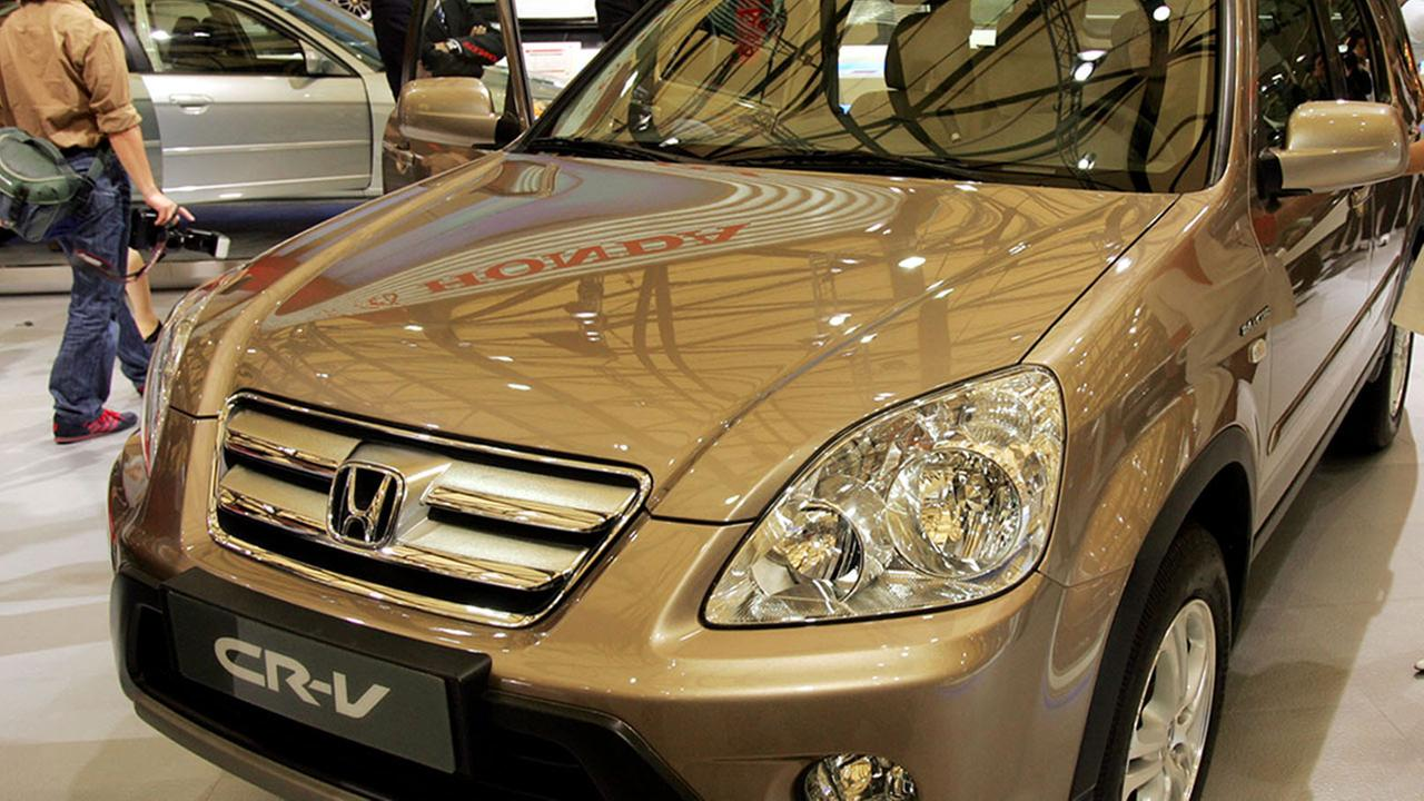 In this April 21, 2005 file photo, a Hondas CR-V is seen at the Auto Shanghai 2005 exhibition in Shanghai, China.