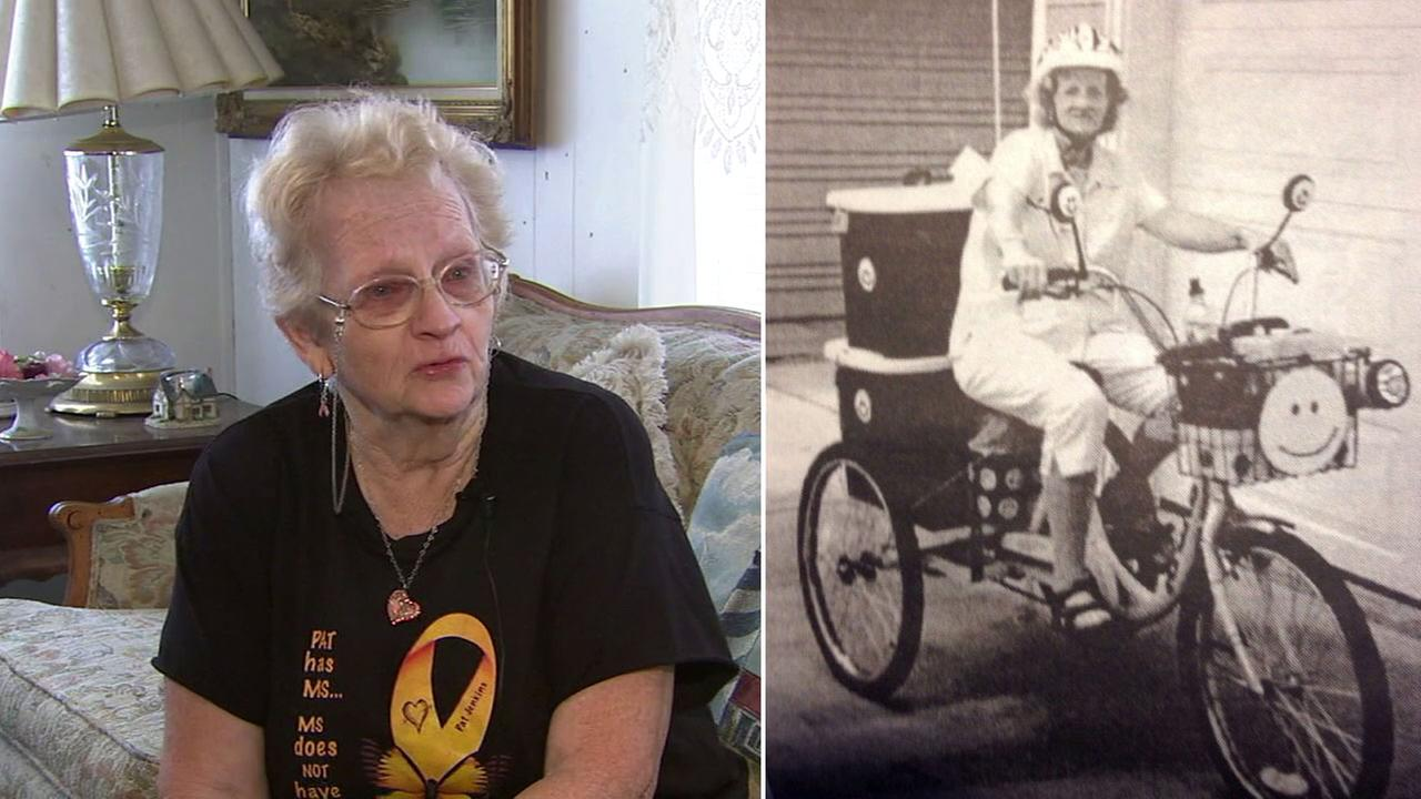 Pat Jenkins, 67, is shown alongside an image of her on her specialized tricycle that was stolen from her Anaheim home.