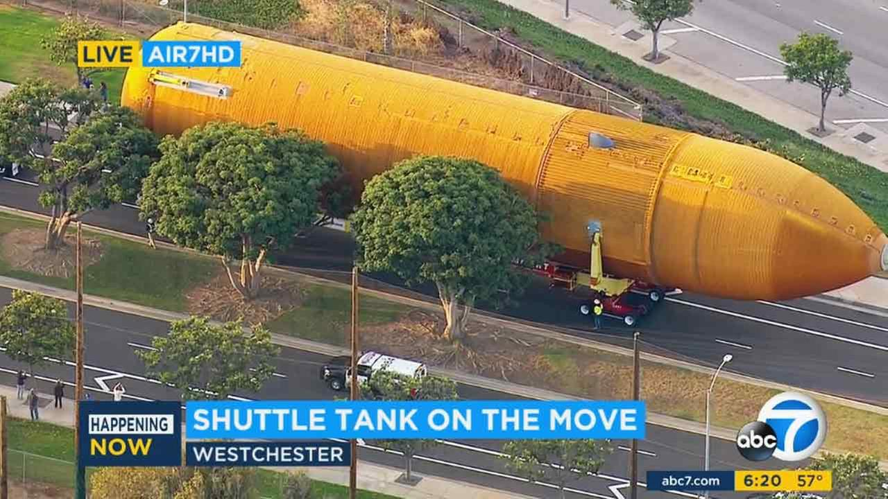 NASA space shuttle fuel tank ET-94 makes its way to the California Science Center on Saturday, May 21, 2016.