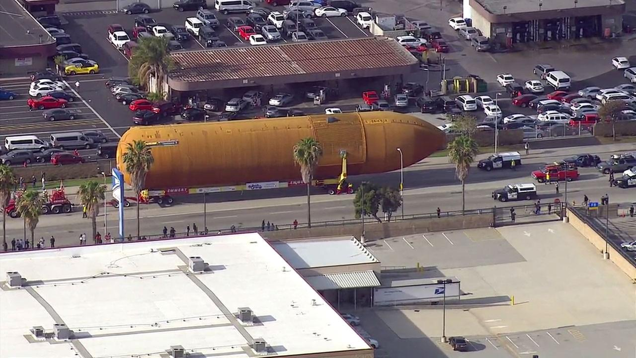 The ET-94 space shuttle external fuel tank traveled through the streets of Los Angeles to its final destination at the California Science Center on Saturday, May 21, 2016.KABC