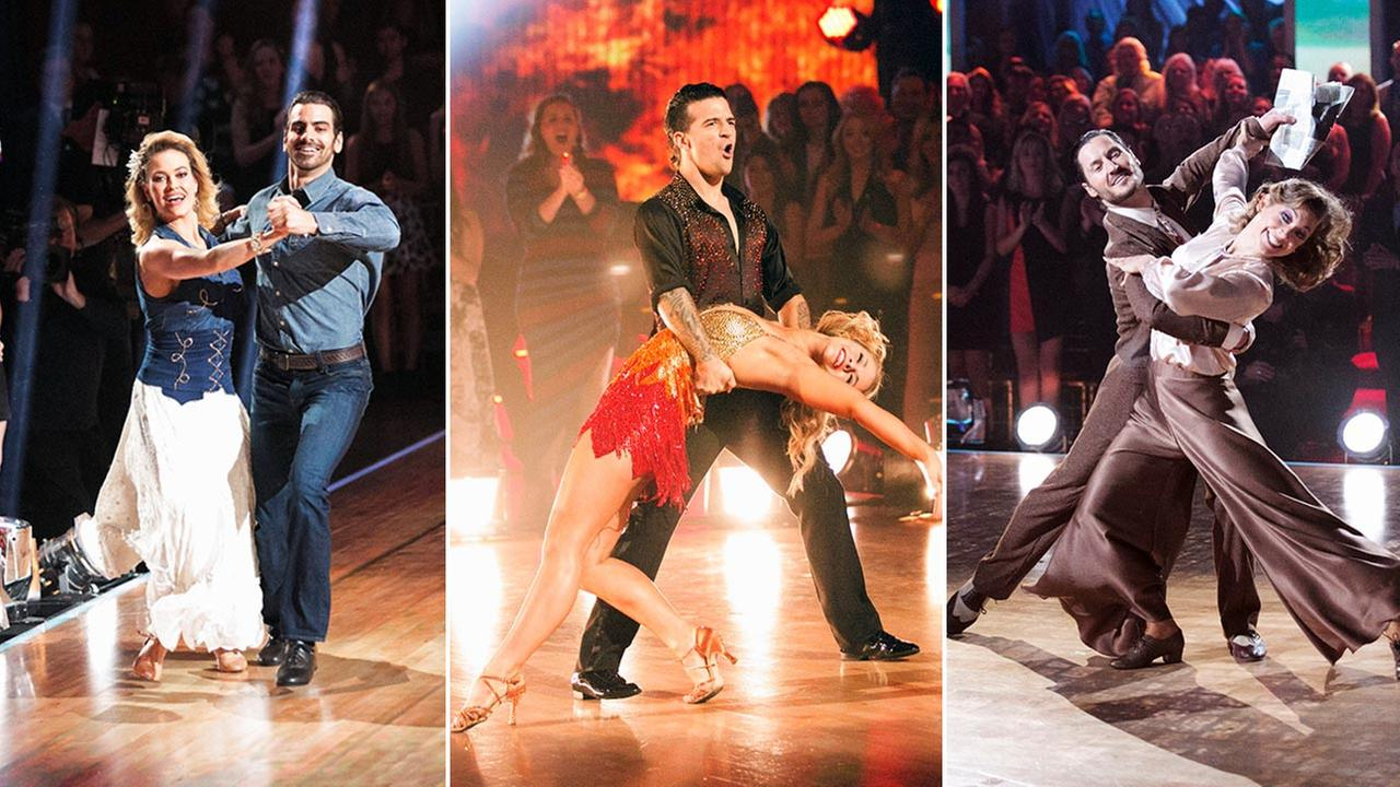 Nyle DiMarco (left), Paige VanZant (center) and Ginger Zee (right) battled it out during night one of the season 22 Dancing with the Stars finale.