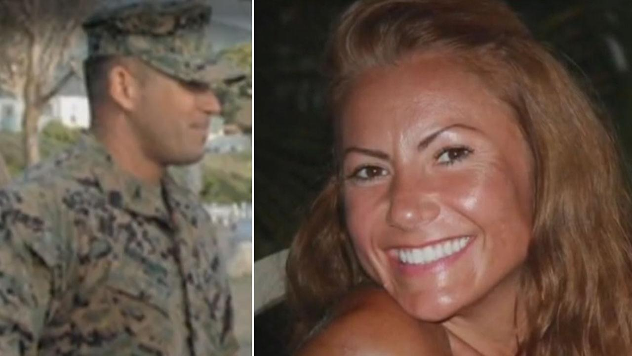 Ex-Marine Brian Brimager (L) is shown alongside a photo of Yvonne Lee Baldelli (R).