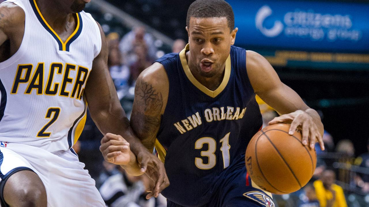 In this Oct. 3, 2015, file photo, New Orleans Pelicans Bryce Dejean-Jones drives the ball around the defense of Indiana Pacers Rodney Stuckey.