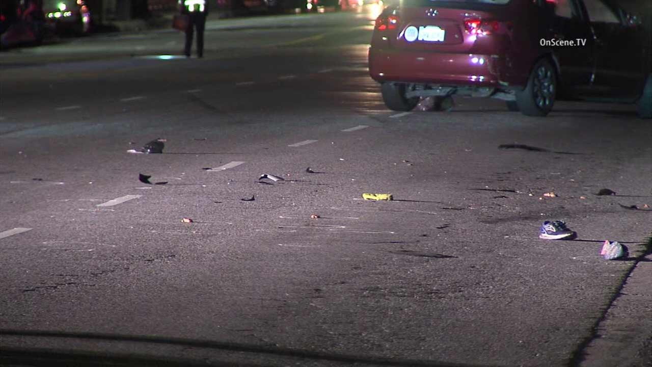 Scene of a fatal hit-and-run crash in Van Nuys.