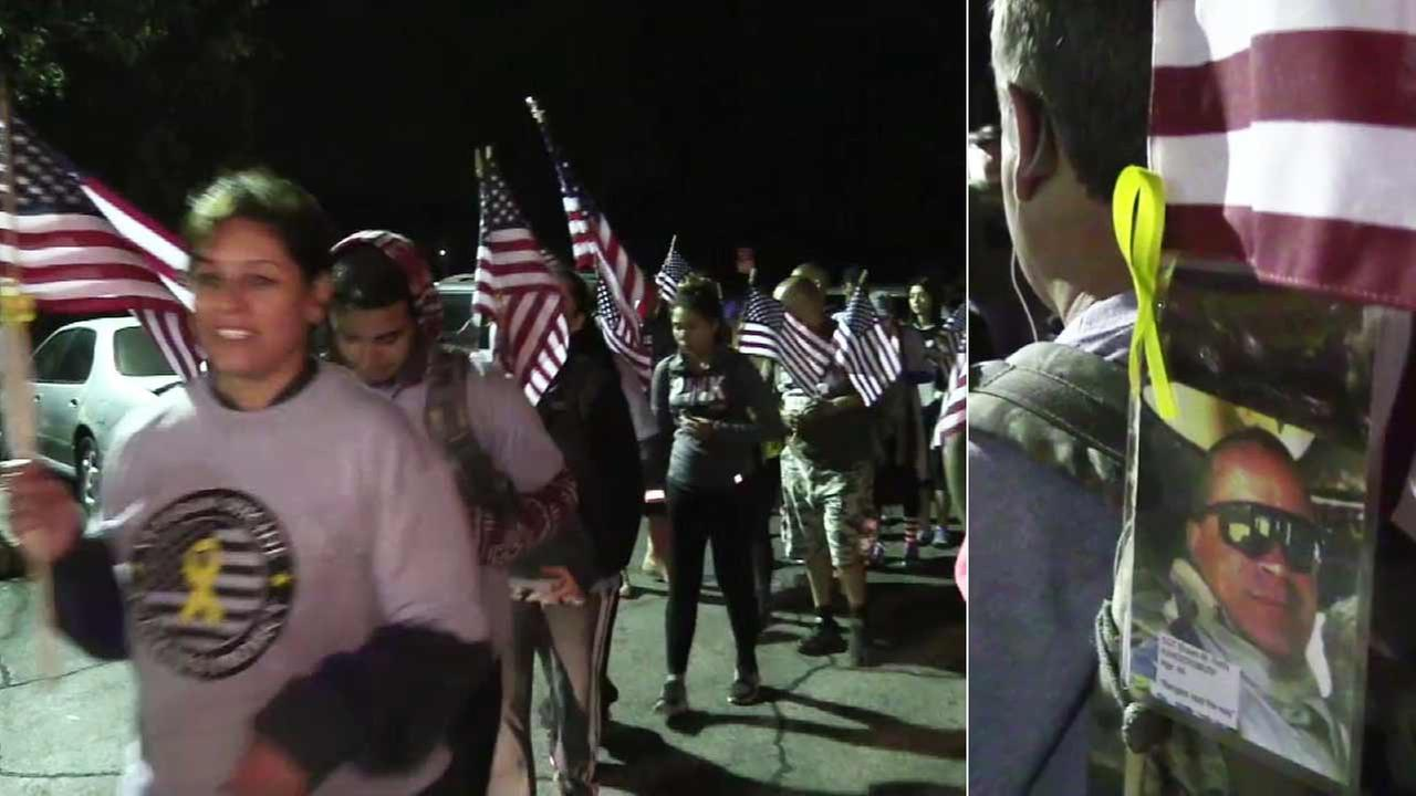 A group of veterans, family and friends marched on Memorial Day to raise awareness about suicide among veterans.