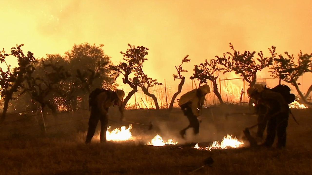 Firefighters put out hot spots from the Powerhouse Fire burning in the Angeles National Forest on Saturday, June 1, 2013 in the Angeles National Forest.