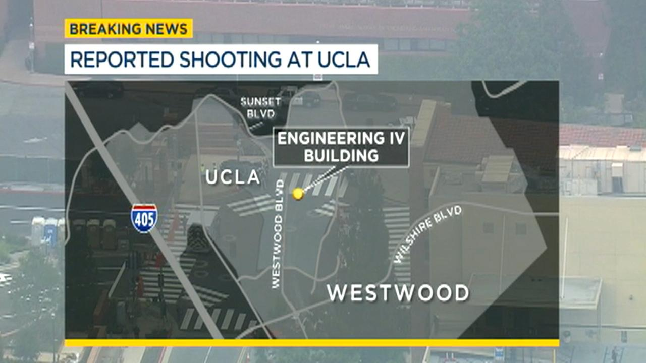 This map outlines the location at which a shooting was reported on the UCLA campus. June 1, 2016