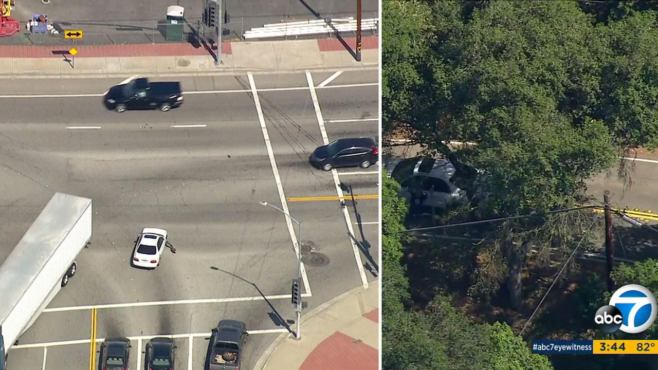 A suspect who led police on a dangerous pursuit through the East Los Angeles area jumped from the window as the vehicle was moving in the Hacienda Heights area on June 3, 2016.