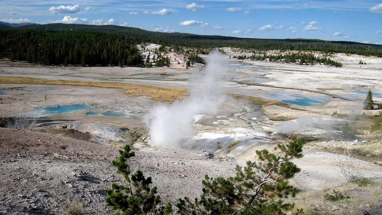 This September, 2009 file photo shows the Norris Geyser Basin in Yellowstone National Park, Wyoming.