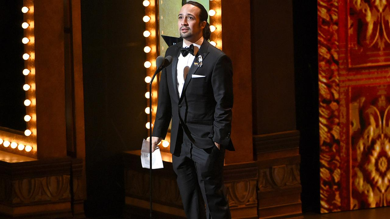 Lin-Manuel Miranda accepts the award for best original score for Hamilton at the Tony Awards at the Beacon Theatre on Sunday, June 12, 2016, in New York.