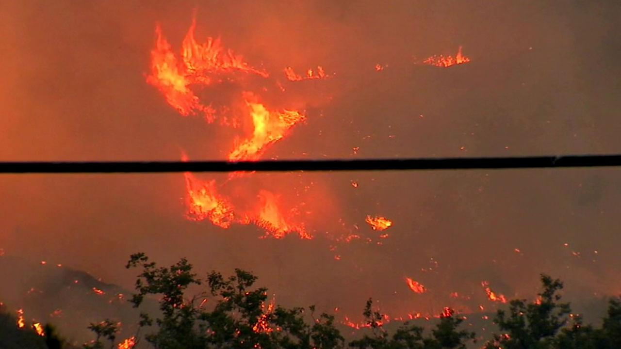 Flames from the Sherpa Fire tear through a hillside along the Gaviota coast in northern Santa Barbara County.