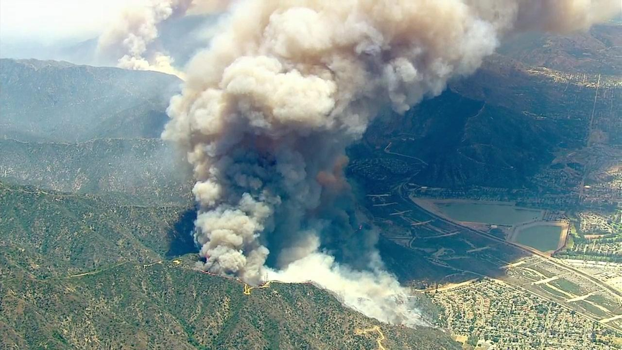 Two brush fires broke out in the Angeles National Forest above Azusa on Monday, June 20, 2016.
