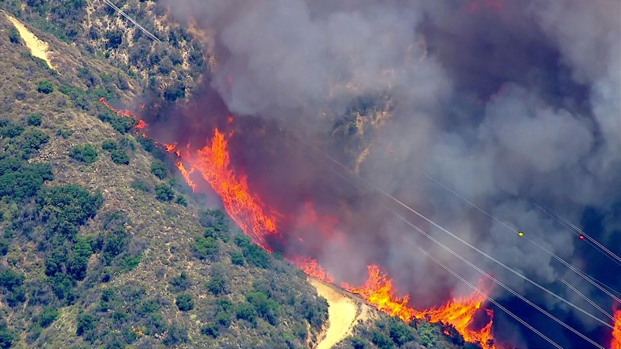 AIR7 HD captured the smoke and flames from a brush fire above Duarte, dubbed the Fish Fire, in the Angeles National Forest on Monday, June 20, 2016.