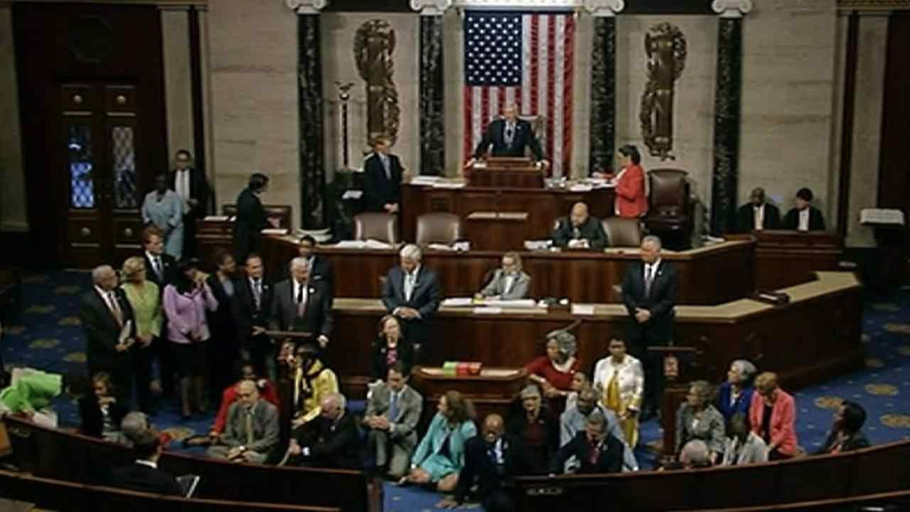 Democrats shut down the Houses legislative work on Wednesday, June 22, 2016, staging a sit-in on the House floor and refusing to leave until they secured a vote on gun control.