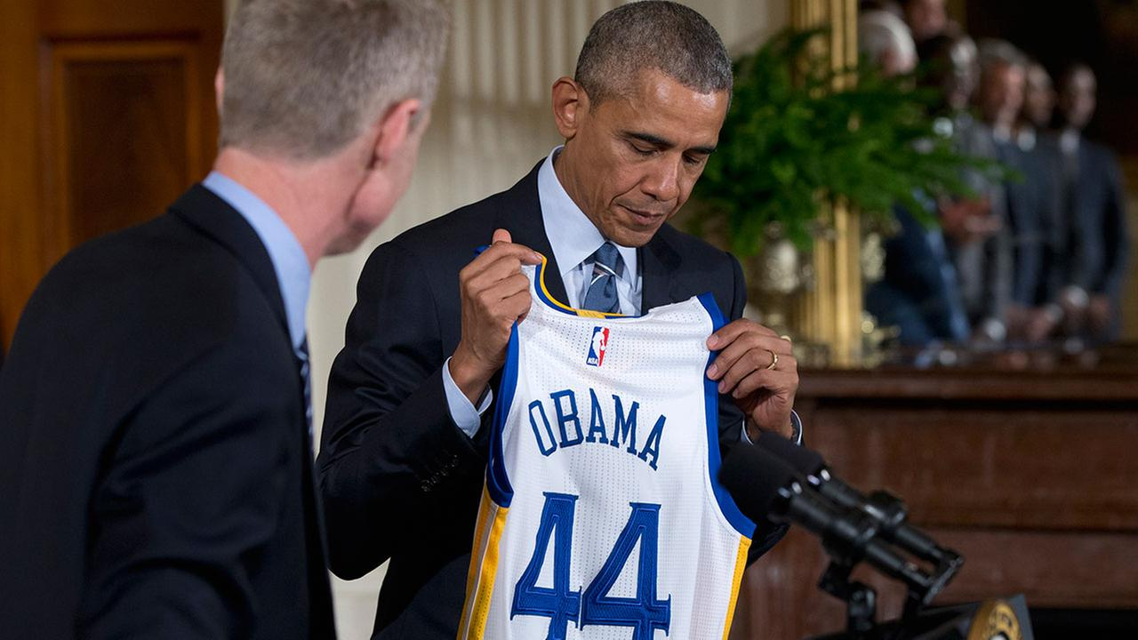 President Obama, pictured in February 2016 when he honored the Golden State Warriors for their 2015 NBA championship.