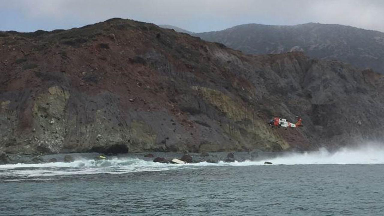 Rescue crews respond to a capsized boat off Catalina Island on Saturday, June 25, 2016.
