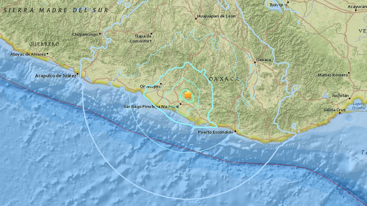 This map shows the epicenter of a 5.7-magnitude earthquake that struck Mexico on Monday, June 27, 2016.