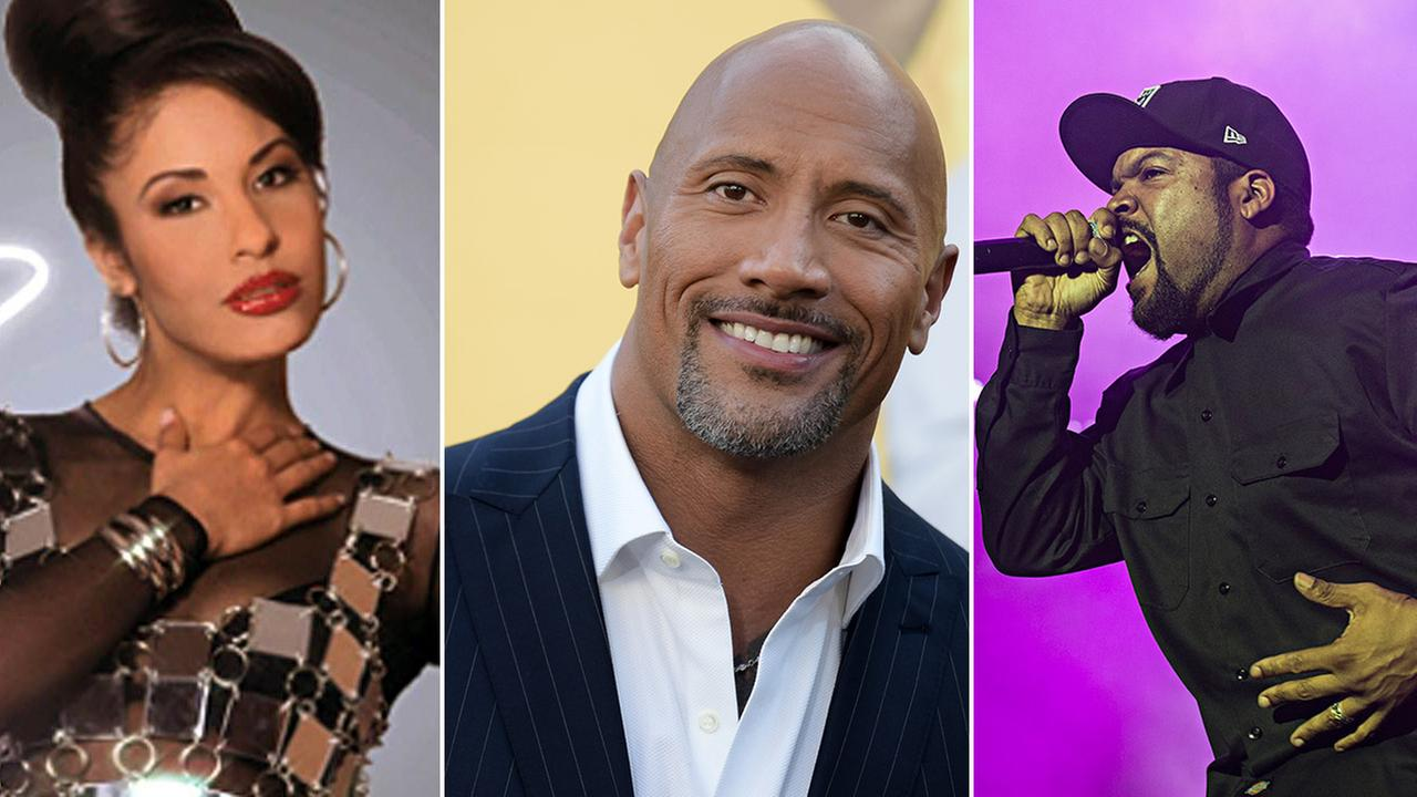 The 2017 Walk of Fame honorees include Selena Quintanilla (left), Dwayne The Rock Johnson (center), and Ice Cube (right).