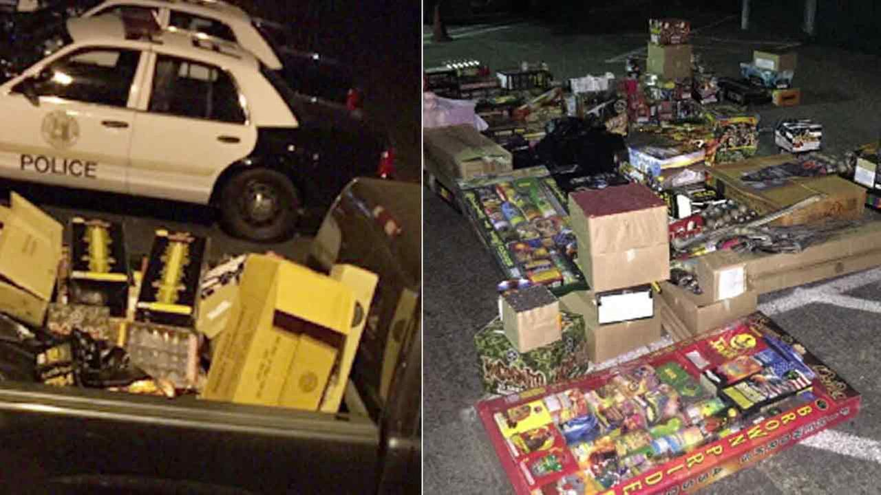 Two images show a portion of nearly 1,000 pounds of illegal fireworks seized in Fullerton, Calif., on Thursday, June 30, 2016.