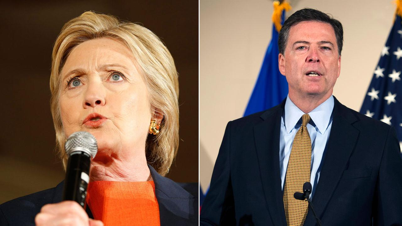 Hillary Clinton is shown in an undated photo alongside FBI Director James Comey.
