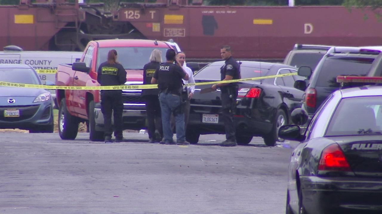 Authorities investigated the scene in Fullerton after a driver being followed by CHP officers drove toward them, resulting in an officer-involved shooting.