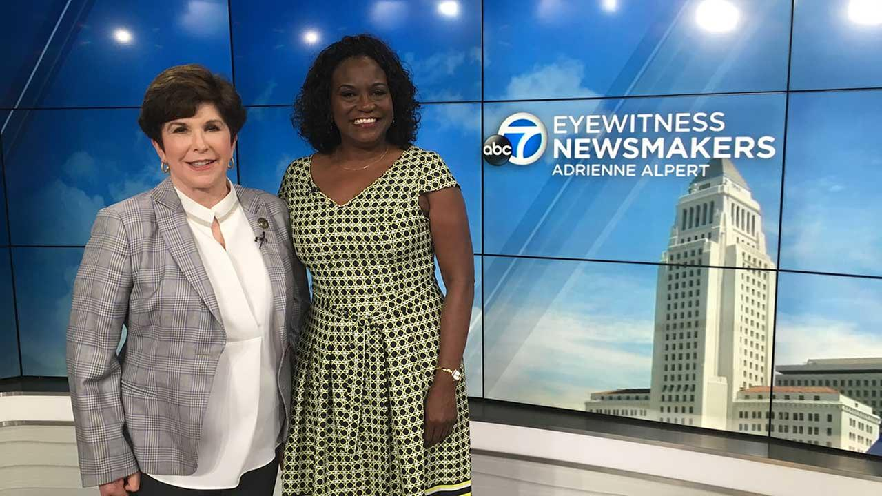 LAUSD Superintendent Michelle King poses for a photo with ABC7s Adrienne Alpert.