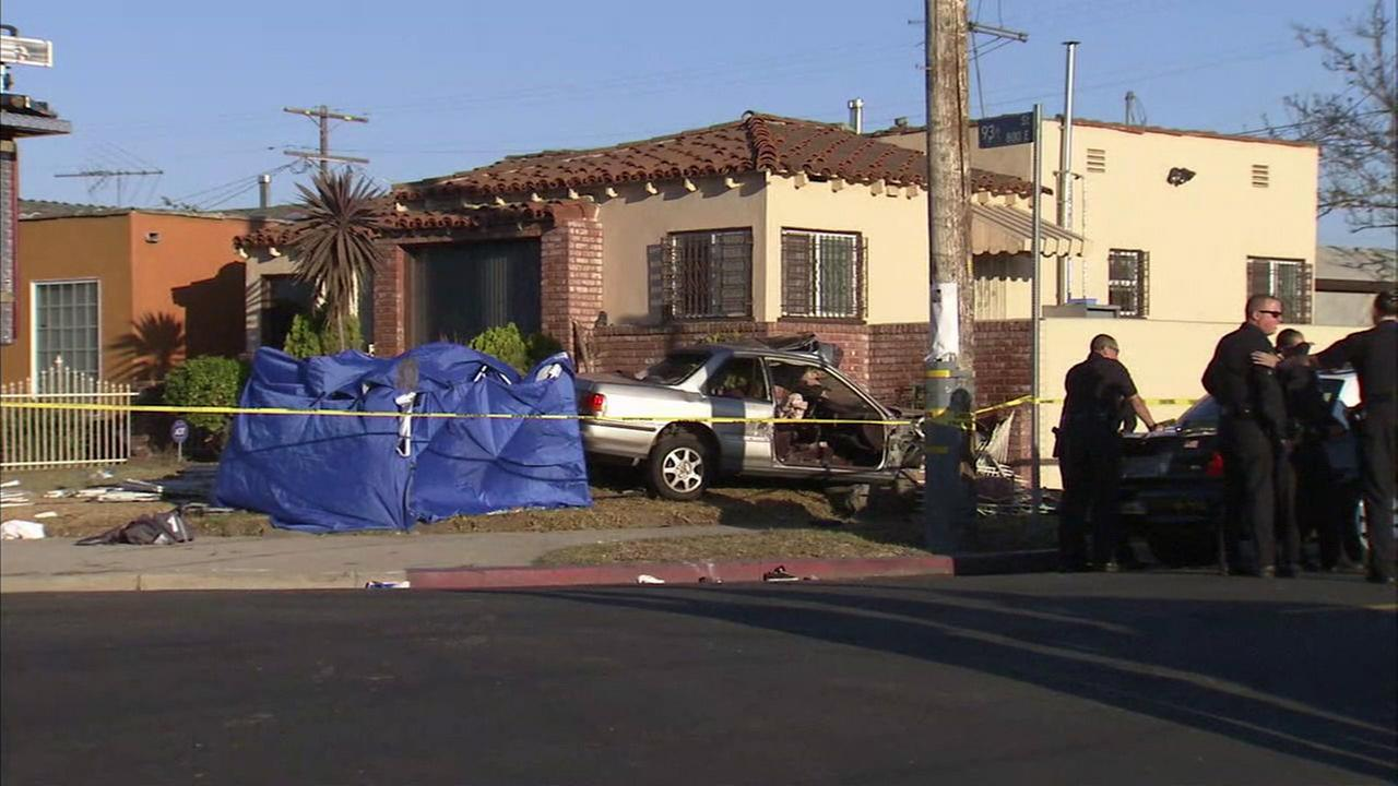A 7-year-old girl was killed, and four others critically injured when a car crashed into a home in South Los Angeles on Sunday, July 17, 2016.