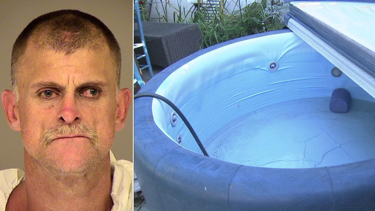 Travis Jones, 47, is shown in a mugshot alongside the hot tub he was in which he is suspected of trespassing into a backyard to use.