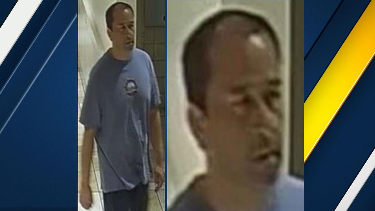 A man sought as a person of interest in a child molestation case is captured on surveillance video at the Puente Hills Mall in the City of Industry.