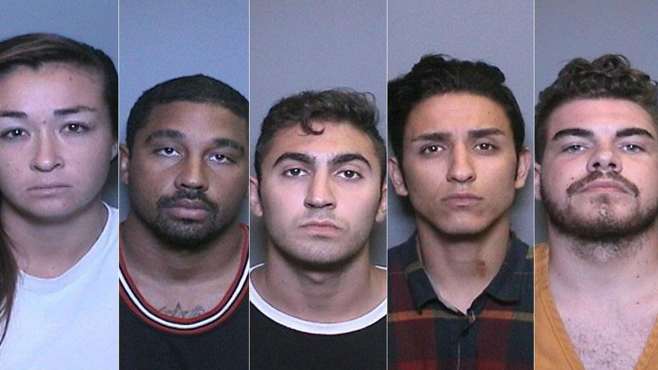 The mugshots of five suspects arrested in connection to the stabbing death of a man in San Juan Capistrano are shown above.
