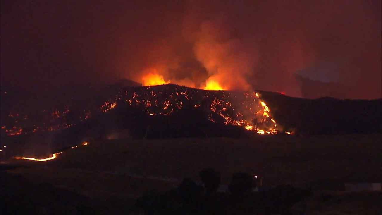 The Sand Fire is seen burning overnight in the Santa Clarita area on Sunday, July 25, 2016.